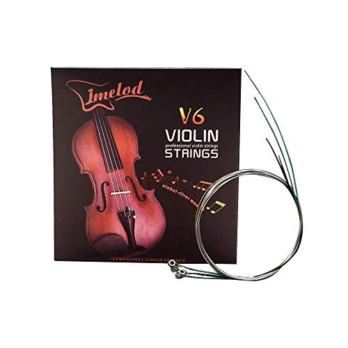 Imelod Violinensaiten Universal Full Set (G-D-A-E) Violine Fiddle String Saiten Stahlkern Nickel-Silber umwickelt mit vernickeltem Kugelende für 4/4 3/4 1/2 1/4 Violinen (1 Set)