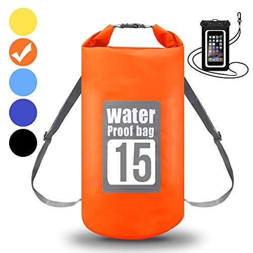 WIN.MAX Wasserdichte Wasserdichter Packsack mit Handybeutel, Orange, 30L