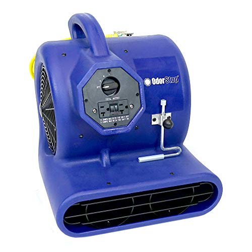 OdorStop OS2800 Heavy Duty Air Mover and Carpet Dryer, 3/4 HP, 3-speed, GFCI Outlet, Carpet Clamp, Unbreakable Roto-Molded Housing, 25 Yellow Power Cord w/ Lighted End, Throws Air 100 Feet