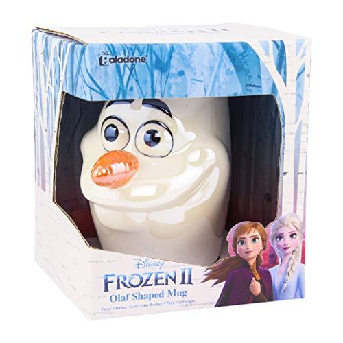 Disney Frozen II Tasse XL Olaf 3D Glanzeffekt weiß, irisierend, Keramik, Fassungsvermögen in Geschenkkarton., PP5129FZT, Mehrfarbig, Approx. 300ml