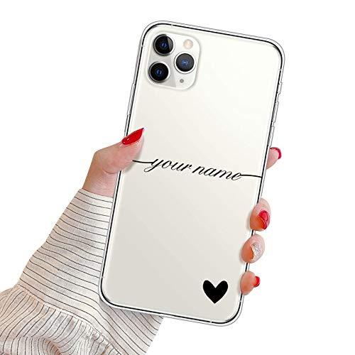 Oihxse Funda Silicona para Xiaomi Redmi 10X 4G/Note 9 Carcasa Protectora Transparente TPU Bumper Case Cover Personalizada Nombre Texto Personalizar Teléfono Cover para Mujeres/Niñas,Negro