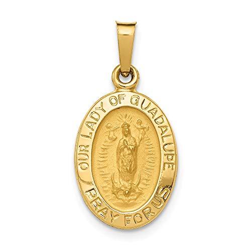 Colgante de medalla hueca de la Virgen de Guadalupe de oro amarillo de 14 quilates