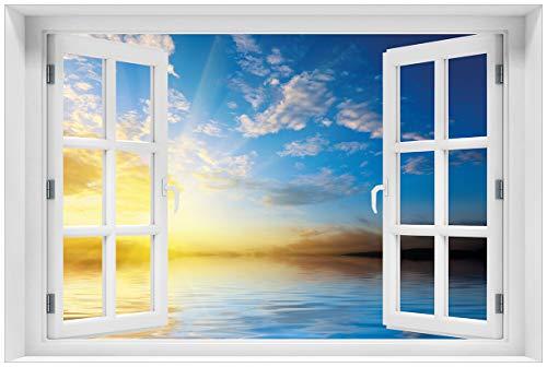 Wallario Acrylglasbild mit Fenster-Illusion: Motiv Sonnenuntergang über dem Meer I - 60 x 90 cm mit Fensterrahmen in Premium-Qualität: Brillante Farben, freischwebende Optik