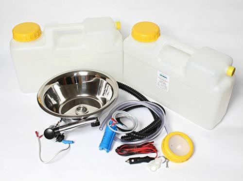 Wasseranlage Imbisswagen Verkaufsanhänger Campingküche 12v Bausatz Spüle 28cm (280mm) London Schwarz/chrom Raumsparkanister 12L (ad-ideen)