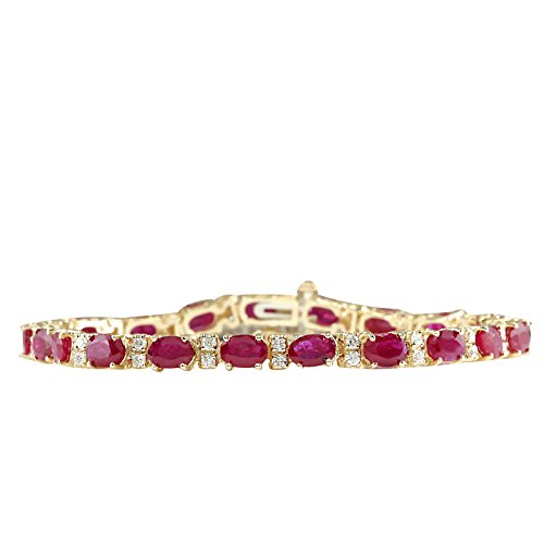 11.01 Carat Natural Red Ruby and Diamond (F-G Color, VS1-VS2 Clarity) 18K Yellow Gold Luxury Tennis Bracelet for Women Exclusively Handcrafted in USA