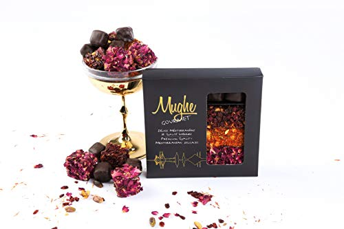Luxury Turkish Delight Pistachio Assorted 370 gr. - 4 Varieties: Dark Chocolate, Rose, Saffron, Zereshk Barberries w. Pomegranate Flv. - Prestigious Turkish Delight Mix / Gourmet Lokum Gift Box