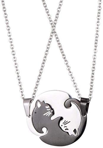Collar 1 par Empalme Lindo para él y para ella Collares para parejas Amante de acero inoxidable Collar con colgante de gato mascota para amante Collar de regalo Cadena colgante para mujeres Hombres