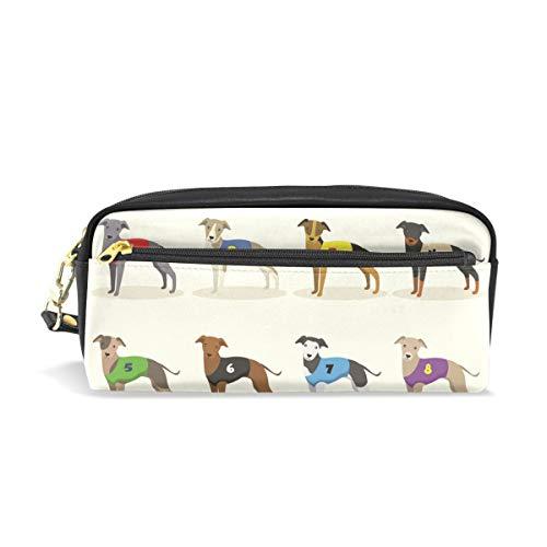 Eslifey Tragbare Tasche aus PU-Leder für die Schule, mit Rennfahrer-Whippet-Motiv, Federmäppchen für Kinder, wasserdicht, Kosmetiktasche, Make-up-Etui