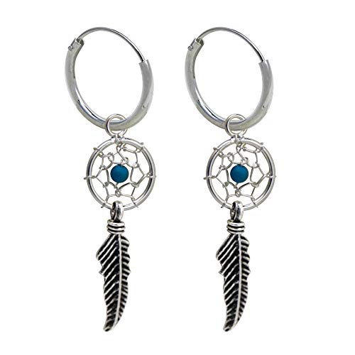 2 x Fine Hoop Earrings with Small Dream Catcher Hanging 925 Sterling Silver
