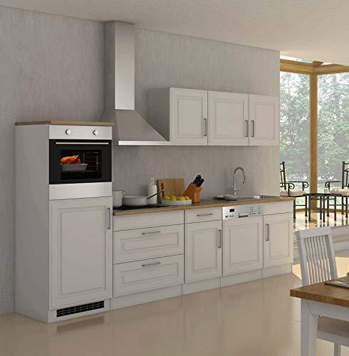 lifestyle4living Küche mit Elektrogeräten 300cm | Landhausküche Küchenzeile Küchenblock Einbauküche E-Geräte | Weiss