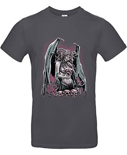 Smilo & Bron Herren T-Shirt mit Motiv Spoky Bedruckt Grau Dark Grey 3XL