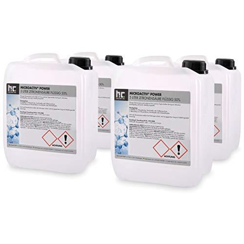 Höfer Chemie 4 x 5 Liter Zitronensäure 50% flüssig handlichen 5L Kanistern - TECHN. QUALITAET