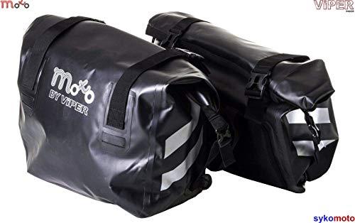 Moto Luggage Revo Pro Wasserdicht Satteltasche Tragekorb Cruising Touring Gepäck Motorrad Panniers Paar Bag (60 Liter) - Schwarz - One