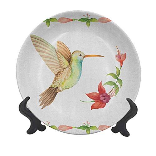 Plato decorativo de cerámica de colibrí de 15,24 cm, diseño de colibrí volando sobre un tallo de flor fucsia, efecto de acuarela, decoración de pared, accesorio para cenar, fiestas, bodas