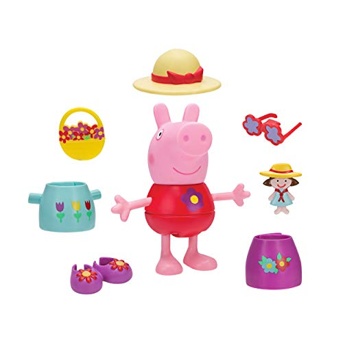 Jazwares PEP0496 Peppa Pig Spring Fancy Dress Fun Peppa Approx. 13 cm Large Peppa Dressing Figure, with 7 Different Outfits and Accessories, Original Peppa Pig Figures Set for Children from 2 Years