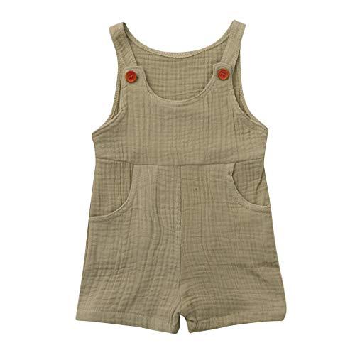 JUTOO Sommer Kleinkind Neugeborenen Kinder Baby Jungen Mädchen Einfarbig Spielanzug Overall Kleidung (Khaki 1,70)