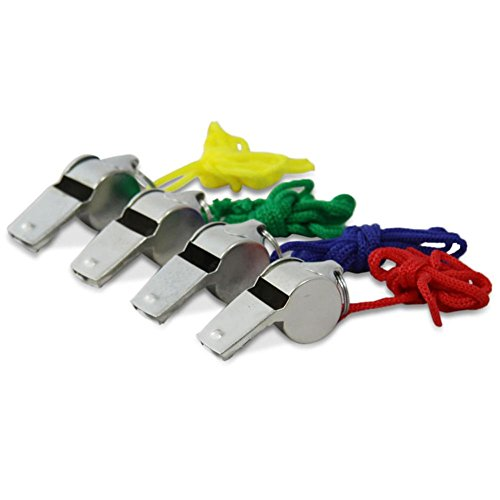 5er Pack Trillerpfeifen Signalpfeifen Metall mit Kordel Schiedsrichterpfeife, 5/0405