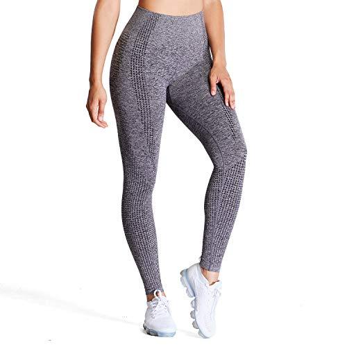 Aoxjox Women's High Waist Workout Gym Vital Seamless Leggings Yoga Pants (Charcoal Grey Marl, Small)