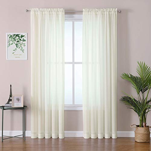OWENIE Cream Sheer Window Curtains 84 inches Long, Rod Pocket, Soft Semi Sheer Drapes for Bedroom and Livingroom, 60x84, 2 Panels