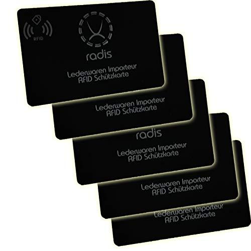 RFID Blocker Karte NFC Schutzkarte Blocking Card für Kreditkarten, Geldbörse, Personalausweis, Kreditkartenetui, EC (Black Premium 13,56 MHz, 5)