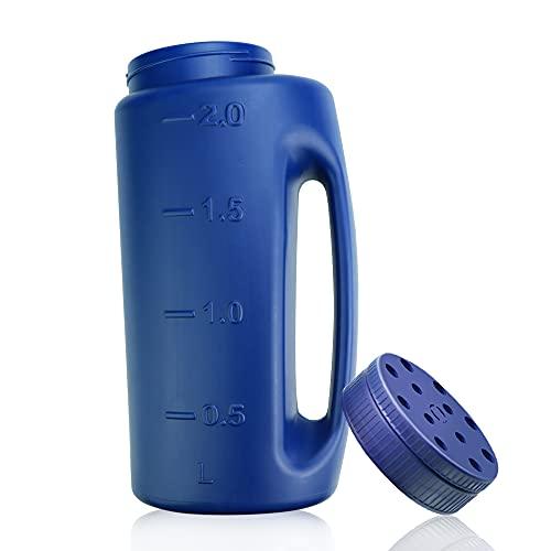 BUZIFU Handheld Spreader 2L Fertilizer Salt Spreader Grass Seed Spreader Hand Spreader Shake Seed Spreader Bottle Plastic Rock Salt Spreader Adjustable Hole Size with Scoop for Fertilizer, Ice Melt