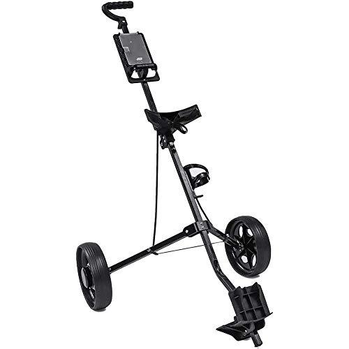 Golftrolley Golfwagen Golf Trolley Cart Eisen Schwarz Einstellbarer 2 Wheels Golf Caddy Aluminiumlegierung-Faltbare Trolley mit Bremse, leicht zu öffnen Golf Caddy