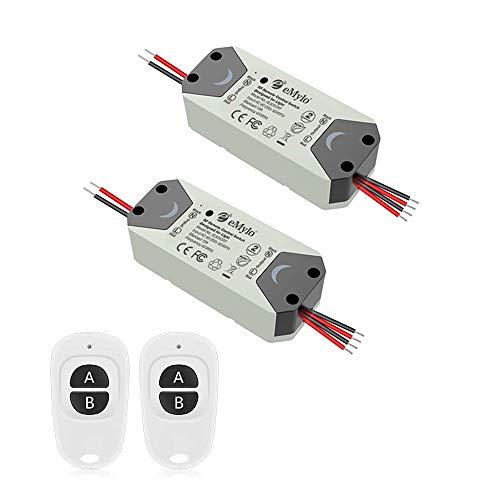 eMylo Smart Wireless RF Switch DC 12V Interruptor de control remoto de 2 canales 5V-24V Interruptor de relé de RF Domótica 433 MHz con dos transmisores 2 paquete
