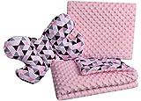 Babydecke Krabbeldecke Set 3in1 100% Baumwolle MINKY Kinderdecke 55x75 + 35x30cm flaches Kissen und...