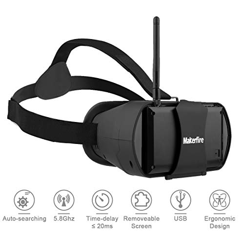 FPV Goggles 5.8Ghz Mini HD FPV Drone Goggles Video Headset Glasses 40CH 4.3 inch HD LCD Screen with RP-SMA Antenna Built-in Battery for FPV Racing Drone Quadcopters