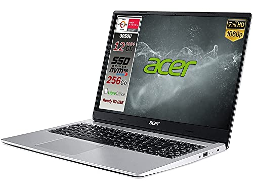 Acer Aspire SSD Silver new Athlon 3050u, ram 12 Gb Ddr4, SSD M.2 PCi da 256Gb, Display Full Hd da 15,6, web cam, usb, hdmi, bt, lan, Win10 Pro, Libre Office, Pronto all uso layout e Garanzia Italia