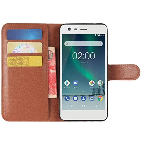 HualuBro Custodia Nokia Lumia 520, Custodia in Pelle PU Leather Portafoglio Wallet Protettiva Flip Case Cover per Nokia Lumia 520 Smartphone (Marrone)