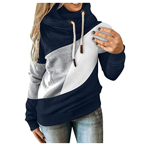 Bumplebee Hoodie Damen Langarm Kapuzenpullover Sweatshirt mit Kapuze und Tunnelzug Casual Mode Farbanpassung Pullover Pulli Lose Tunika Bluse Shirts Tops Frauen