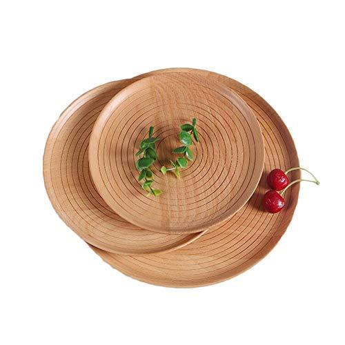 Family Needs Creatieve huishoudelijke Firm houten plaat Stave Houten Non-slip Pizza fruitschaal Bread Plate (Color : Brown, Size : 25cm)