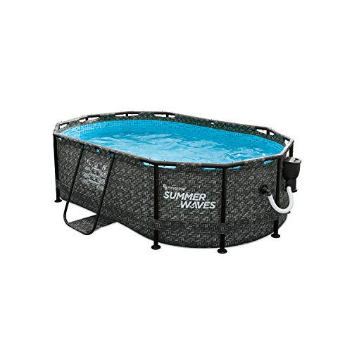 Summer Waves P71408401 13.9 x 8.2 Foot 39.5-Inch Deep Dark Herringbone Print Active Above Ground Metal Framed Oval Family Backyard Swimming Pool with SFX600 SkimmerPlus Filter Pump, Gray -  Polygroup