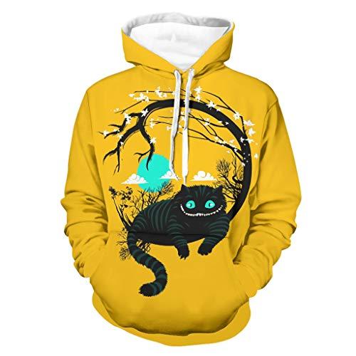 Anime Wunderland Katze Druck Herren Hoodie Mode Lange Ärmel Hoodie-Sweatshirt mit...