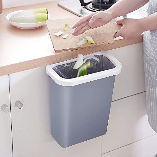DUTISON - Pattumiera da cucina sospesa, 10 l, in plastica (PP), per cucina, ufficio, bagno, auto, passeggino (grigio)