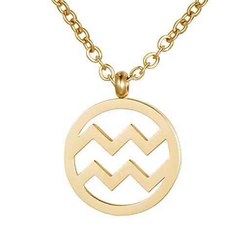 Morella Collar Acero Inoxidable Oro con Colgante Signo del Zodiaco Acuario en Bolsa de Terciopelo