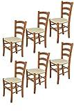Tommychairs - Set 6 sillas Venice para Cocina y Comedor, Estructura en Madera de Haya Color Cerezo y Asiento tapizado en Polipiel Color Marfil