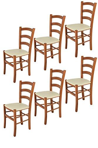 Tommychairs sillas de Design - Set 6 sillas Modelo Venice para Cocina, Comedor, Bar y Restaurante, con Estructura en Madera Color Cerezo y Asiento tapizado en Polipiel Color Marfil