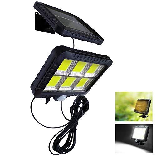 VARICART Applique Solare 12W 120 LED Separabile, Esterno Impermeabile Pannello con Sensore di Movimento PIR, 3 Modalità di Illuminazione per Giardino Garage Seminterrato Capannone (Pacco da 1)