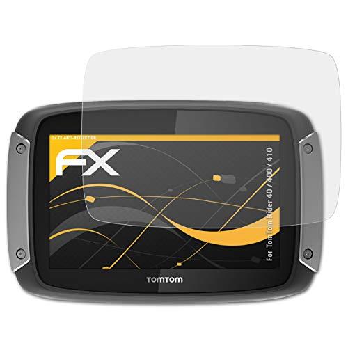 atFoliX Protector Película para Tomtom Rider 40/400 / 410 Lámina Protectora de Pantalla, Revestimiento antirreflejos HD FX Protección de Pantalla (3X)
