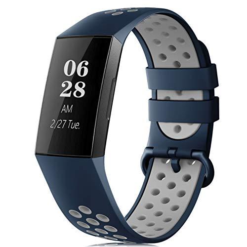 RIOROO Correa Compatible para Fitbit Charge 3 Pulsera/Charge 4 Correa para Hombres Mujeres Relojes Banda de Reemplazo Silicona Transpirable Deportivo Pulseras de Repuesto Gris Azul Noche(Sin Reloj)