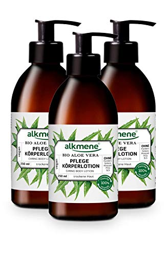 alkmene Pflege Körperlotion mit Bio Aloe Vera - Bodylotion für normale bis trockene Haut - vegane Körperpflege ohne Silikone, Parabene, Mineralöl, PEGs, SLS & SLES im - Lotion 3er Pack (3x 250 ml)