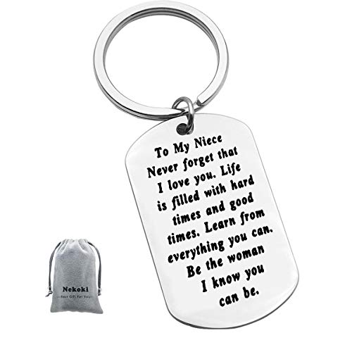 To My Niece Keychain Gift Inspirational Niece Gifts from Aunt Uncle Never Forget That I Love You Keychain Encouragement Jewelry Gifts for Niece Birthday Christmas Gift to Niece
