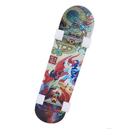 RYQSM Allrad-Skateboard, Geeignet Für Anfänger, Erwachsene, Jungen Und Mädchen, Siebenschichtiges Ahorn-Stunt-Allrad-Doppelkipp-Skateboard Für Kinder-Drachen