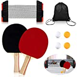 Myhozee Ping Pong Paddle Set - Portable Table Tennis Set Including 4 Table