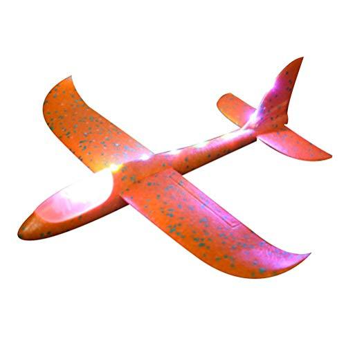 Hihey Led-piepschuimvlieger voor in de nacht handstart, traagheid, schuim, zeilvliegtuig 48cm oranje