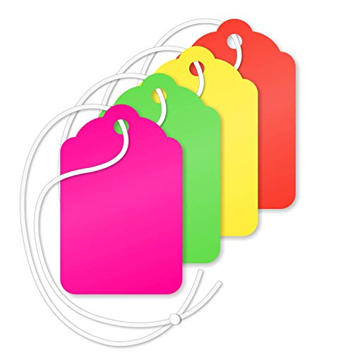 SmartSign 1.75 x 1.125 Inches Blank Tags with String | Fluorescent Green, Red, Pink and Yellow 13 Pt Cardstock Pack of 1000