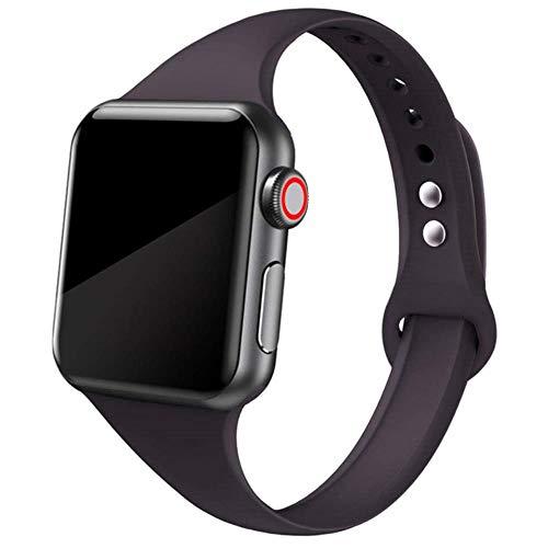 AISHANG Cinturino Sottile per Cinturino Apple Watch 40Mm 44Mm 38Mm 42Mm Cinturino in Silicone Sportivo Morbido Wrsit Cinturino per Serie Iwatch 2 3 4 5 40 38 42 44 Mm, Cina, Cacao 28