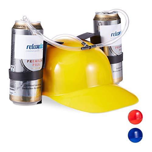 Relaxdays 10022789_48 Party Trinkhelm, Helm mit Schlauch, für 2 Dosen Bier, Spaßartikel Fasching u. Fußball, lustiger Bierhelm, gelb, Unisex– Erwachsene, 13 X 32 X 28 Cm